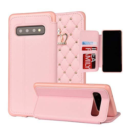 Miagon Diamant Brieftasche Hülle für Samsung Galaxy S10 Plus,Krone Niet Design PU Leder Klapphülle Ständer Kartenfach Flip Case Cover Schutzhülle,Rosa