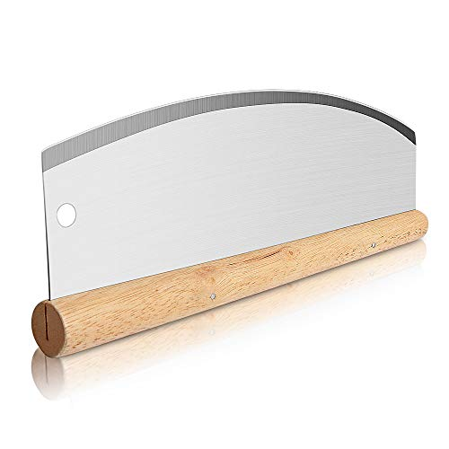 Asdirne Pizza Cutter, Pizza Rocker with Stainless Steel Blade and Wooden Handle, Sharp and Durable, 28 * 11cm.