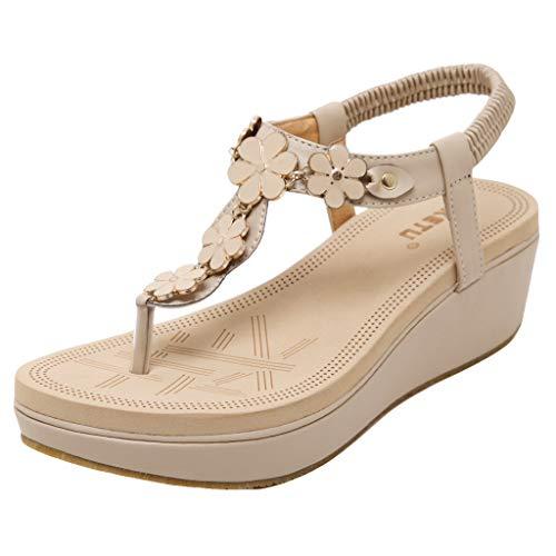 HLIYY Sandalen für Damen, flach, Sommer, modische Schuhe, bequem, flach, Schuhe mit Flip-Flops, Strand mit flachen Absätzen, komfortable Sohle 2019, Weiß - weiß - Größe: 40 EU