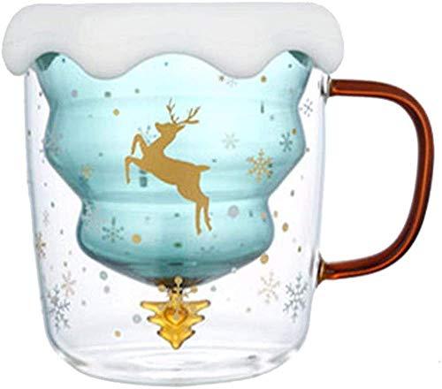 CLQ Tazas Lindas Taza de café de Navidad, Taza de Leche Taza de café expreso de Vidrio Aislante de Doble Pared, Tazas de Vidrio de árbol de Navidad para Regalos románticos de cumpleaños