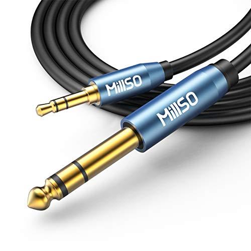MillSO 6.35mm auf 3,5mm Stereo Klinke Kabel 5m, Mini Klinke 3,5 TRS Stecker zu 6.35 TRS Stecker Audio Aux Kabel für Bassverstärker, Gitarre, Klavier, Kopfhörer, Lautsprecher und Heimkino-Geräte