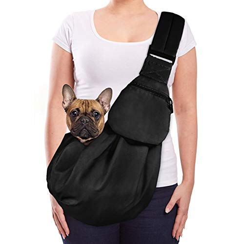 Lukovee Pet Sling, Hand Free Dog Sling Carrier Adjustable Padded Strap Tote Bag Breathable Cotton...