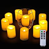 Homemory Votive Candles Battery Operated with Remote, Flameless Votive Candles with Timer, Led Votive Candles, Battery Operated Votive Candles Bulk for Home Decor, Outdoor, Amber Yellow-Set of 6, 2 in