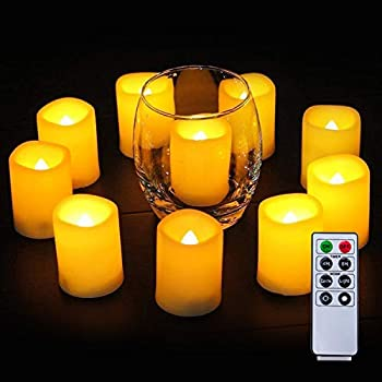 Homemory Votive Candles Battery Operated with Remote Flameless Votive Candles with Timer Led Votive Candles Battery Operated Votive Candles Bulk for Home Decor Outdoor Amber Yellow-Set of 6 2 in