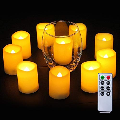 Homemory Votive Candles Battery Operated with Remote, Flameless Votive Candles with Timer, Led Votive Candles, Battery Operated Votive Candles Bulk for Home Decor, Outdoor, Amber Yellow, Set of 6