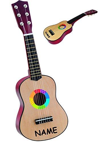 alles-meine.de GmbH Gitarre aus Holz - 6 Saiten - stimmbar -  Konzertgitarre - Klassik - BRAUN / Natur Farben  - incl. Name - haltbare Nylonsaiten - 54 cm - akustische - Kinder..