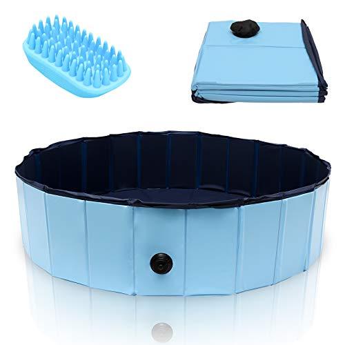 VINGO Swimming Pool für Hunde, 120 x 30cm Hundepool Doggy Pool Schwimmbad Umweltfreundliche PVC verschleißfest mit Haustier Badebürste