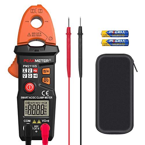 Pinza Amperimétrica CC / CA, PEAKMETER Probador de Corriente de Voltaje Multímetro sin Contacto Para Medir Resistencia, Capacitancia, Frecuencia con Medición de Prueba de Bolsa de Almacenamiento