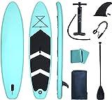 AMBM Inflable Stand Up Paddle Board SUP Paddleboard con accesorios Mochila Bolsa de aluminio ajustable Bomba de remo Manómetro Correa extraíble Aleta