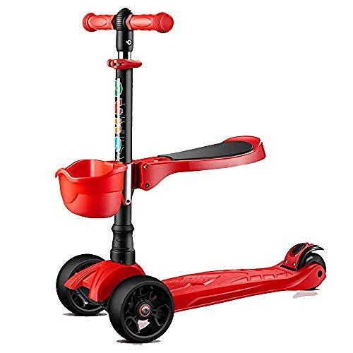 SCJ Baby Born Scooter 3 Ruedas Scooter multifunción para niños con Ruedas Intermitentes Mango Scooter Ajustable @ Rojo