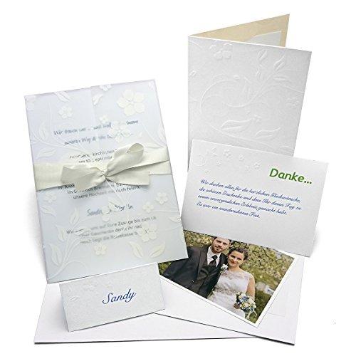 Hochzeit Einladungskarten Hochzeitseinladung Einladung Karten, auch für Taufe / Kommunion / Konfirmation. Set 'Pergament' inkl. 20 Einladungskarten, 20 Dankeskarten, 10 Menükarten, 40 Platzkarten mit Blumenprägung. Kostenlose Druckvorlagen inkl.
