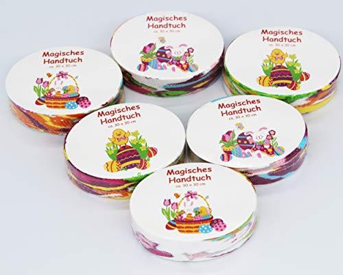 KAMACA 6er Set Magische Handtücher aus Baumwolle Ostern Mitgebsel Mitbringsel Zauberhandtuch Küken Osterhase (6er Set Ostern)