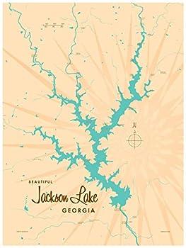 Jackson Lake Georgia Map Giclee Art Print Poster by Lakebound 18  x 24