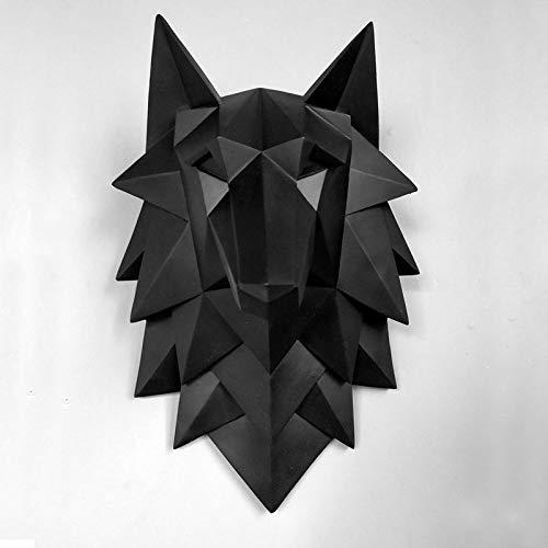 Estatuas Escultura Estatuillas,3D Negro Lobo Cabeza Diseño Colgante Pared Animales Figuras Arte Vintage Artesanías Creativas Estatuas para El Jardín Casero Estatuillas Decoración Ornamentos
