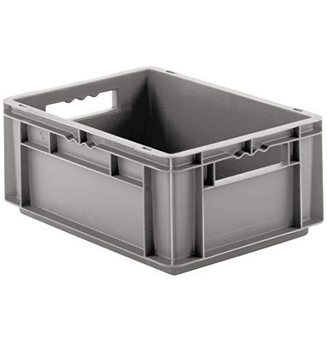 SSI Schäfer EF 4170 Eurokiste Kunststoffbox Transportbox offen ohne Deckel, 400x300 mm, 15,7 l, 15 Kg Tragkraft, Made in Germany, Grau