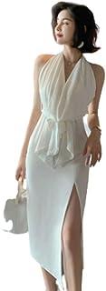 فستان سهرة فستان مزاج جديد إلهة بيضاء معلقة العنق الرسن الدانتيل تصميم فستان نمط عطلة