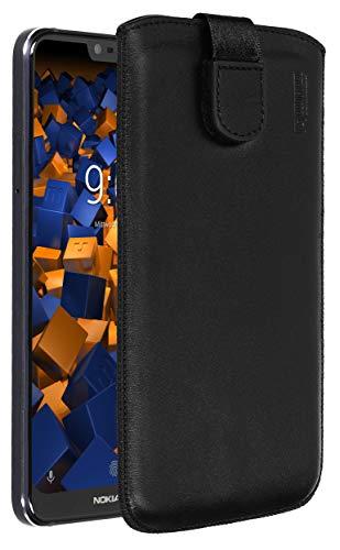 mumbi Echt Ledertasche kompatibel mit Nokia 7.1 2018 Hülle Leder Tasche Hülle Wallet, schwarz
