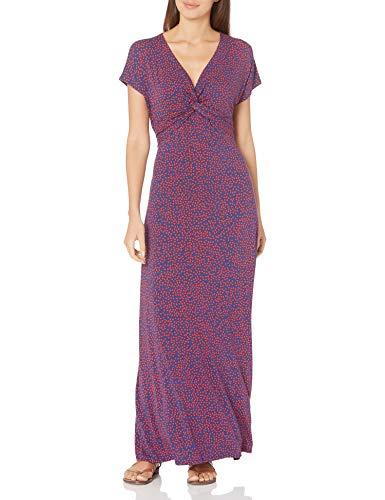 Amazon Essentials Twist Front Maxi Dress, Navy Red Dot, S