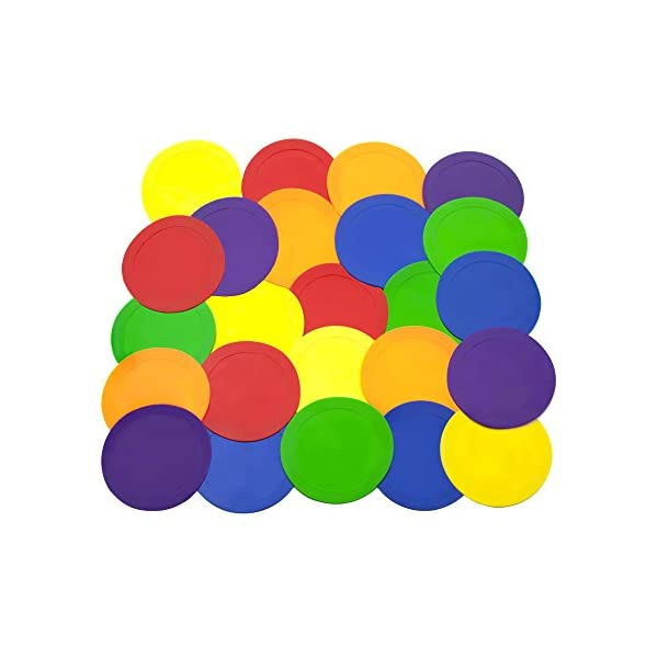 Ace Creations 9 Inch Poly Vinyl Spot Markers – for Training and Drills – Set of 24 – Four of Each Red, Green, Orange, Purple, Blue, and Yellow