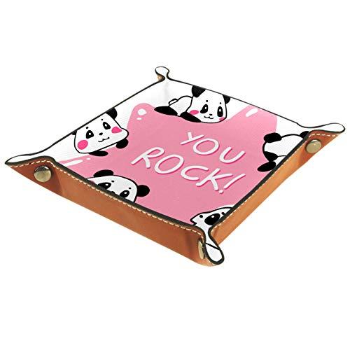 AITAI Bandeja de valet de cuero vegano organizador de mesita de noche para escritorio, plato de almacenamiento Catchall You Rock Panda