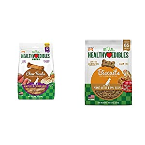Nylabone Healthy Edibles Roast Beef and Chicken Dog Chew Treats, 12 Count, Small/Regular – Up to 25 lbs. & Nylabone Healthy Edibles Dog Treat Biscuits Peanut Butter & Apple Bundle