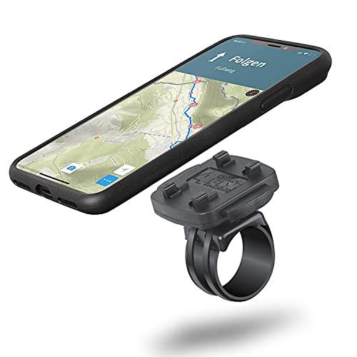 Wicked Chili QuickMOUNT Fahrrad Halterung Set kompatibel mit Apple iPhone 11 (6,1 Zoll) Lenker Vorbau Befestigung mit Regenponcho und Handy Hülle Smartphone Case (Qi-fähig, sehr robust) schwarz