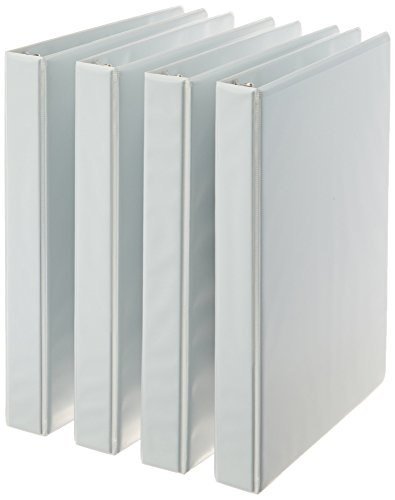 Amazon Basics 3-Ring Binder, 1 Inch - White, 4-Pack