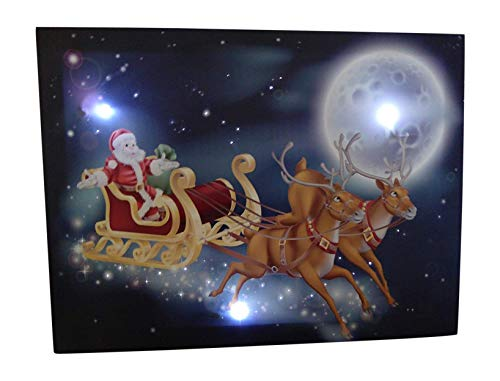 UK-Gardens Santa Sleigh With Reindeer Festive Christmas Picture With LED Lights Battery Operated Timer Fibre Optic Canvas Print 30x40cm