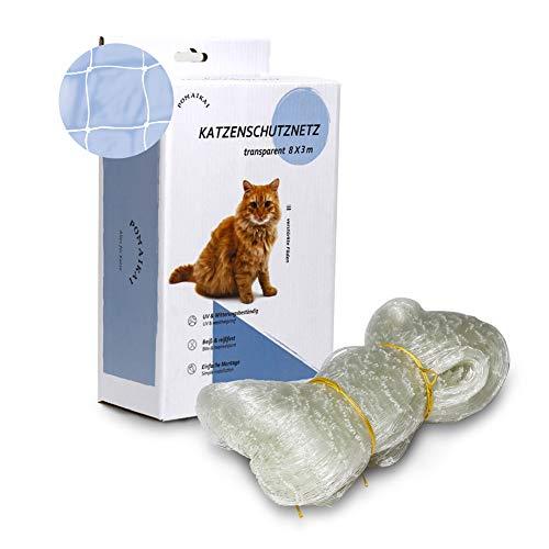 Rete di sicurezza per cat per balcone e terrazza, rete di protezione per gatti trasparente incl. Kit di installazione 8x3m