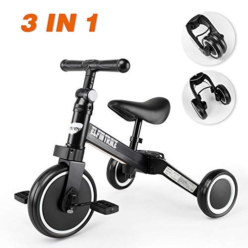 besrey 3 en 1 Tricycle Vélo Draisienne pour Enfant, avec Hauteur Réglable de Selle et Guidon,...