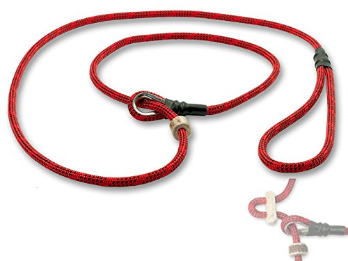 Mystique® Field trial Moxonleine Retrieverleine 6mm 130cm mit Zugbegrenzung rot / schwarz