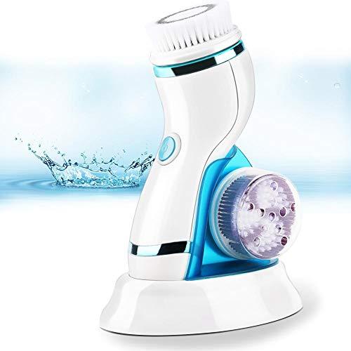 Spazzola per la pulizia del viso impermeabile, spazzola per il viso elettrica Sistema di pulizia profonda Massaggiatore Spazzola rotante per il viso ricaricabile con 5 testine(Blu)