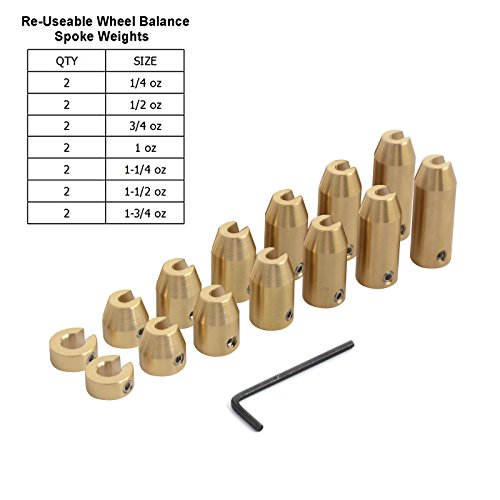 H2Racing 14 Stück Motorrad Wiederverwendbar Messing Rad Gesprochen Balance Gewichte Reifenwuchtmaschine Nachfüllung für Stahlfelgen Wuchtgewichte