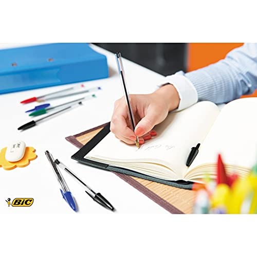 BIC Cristal Original Ballpoint Pens, Medium Point (1.0 mm), Black, Box of 50 - Smudge-Free, Every-Day Writing Pens with Clear Barrel