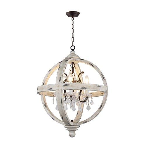 AA Warehousing LZ13-4WH - Lámpara de araña con 4 luces tipo globo de cristal transparente y acabado de madera