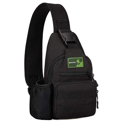 Huntvp Kleine taktische Sling Chest Pack Bag Molle Daypack Rucksack Military Crossbody, Typ2-schwarz, Mini