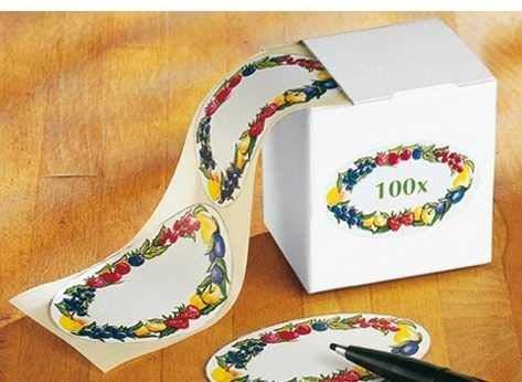 WENKO Haushaltsetiketten mit Obst-Motiv Etiketten auf Rolle Etiketten-Spenderbox