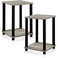 2-Pack Furinno French Oak Grey/Black Stylish End Table