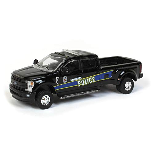 Greenlight 2019 Ford F-350 Lariat Dually Pickup Truck Black Baltimore Police Department (Maryland) Dually Drivers 1/64 Diecast Model 46050 F