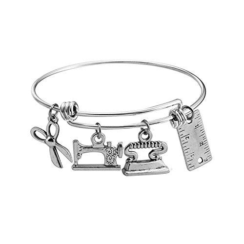 Braccialetto da cucito con ciondoli e forbici, idea regalo per costumisti e Acciaio inossidabile, cod. UK-sewing bracelet