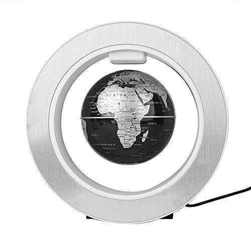 Fdit Globo di levitazione Magnetica Galleggiante Globo di Mappa Rotante Mondiale con Decoro a Luce LED (Black + Silver)