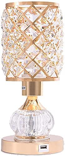 Lámpara de mesa, lámpara de mesita de noche de cristal elegante y simple, lámpara de noche cálida y romántica para estudio/dormitorio/cafetería, interruptor de botón de pulsador con puerto de carg