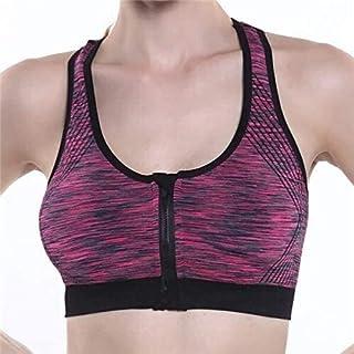 OneChange Running The Gym Running Bra Push-ups Ms. Thick Vest Vest Sports Bra Underwear Shock Zipper Large (Colors: Purple...