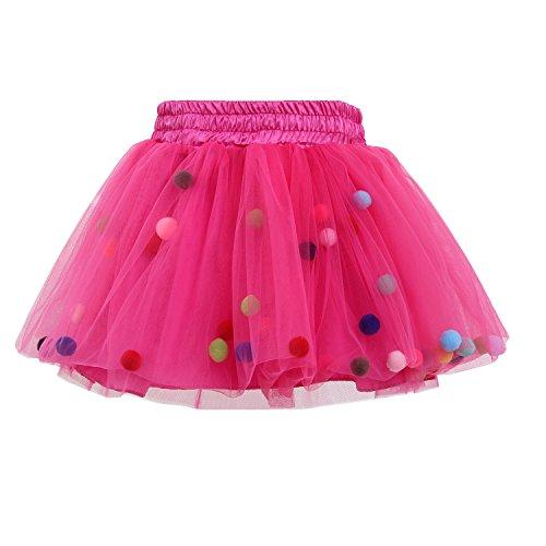 GoFriend Tutu Skirt Baby Girls Tulle Princess Dress 4-Layer Fluffy Ballet Skirt with Pom Pom Puff Ball Rose Red