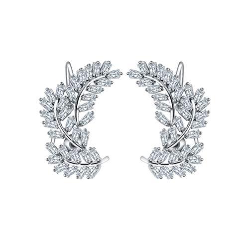 Braiton Cristales Ear Cuffs Hoop Climber S925 Sterling Pendientes de Plata Pendiente hipoalergénico para Mujeres, Adolescentes, niñas, cumpleaños, día de San Valentín,Plata