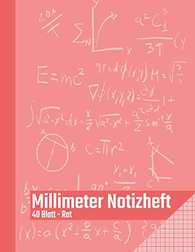 Millimeter Notizheft - 40 Blatt - Rot: Millimeterblock zum technischen Zeichnen   Zeichenblock für den Bürobedarf und Studium   Perfekt für Techniker, ... Ingenieure und Studenten