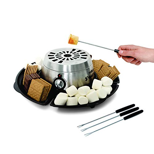 Salton Treats Indoor Electric Stainless Steel S'Mores Maker and Fondue Warmer with 4 Lazy Susan Compartment Trays with Automatic Temperature...