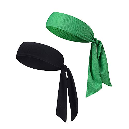 DEMIL Head Tie Tennis Tie Hairband - Sports Headband Ideal for Athletics,Pirates,Karate Keep Sweat & Hair Out of Your Face (2pcs-Green+Black)