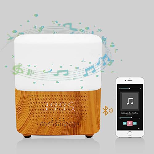 Duftöldiffusoren Aroma Diffuser 300ml Aromatherapie Diffusor mit Wecker Multifunktionale Bluetooth mit 7 Farben LED luftbefeuchter ultraschall für Schlafzimmer