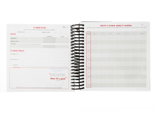 Product Image 11: Fitlosophy Fitbook: Fitness Journal and Planner for Workouts, Weight Loss and Exercise, Black Single (12-Week)